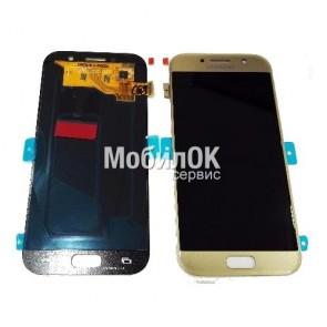 Дисплей для Samsung A520 Galaxy A5 (2017) золотой, оригинал (GH97-19733B)
