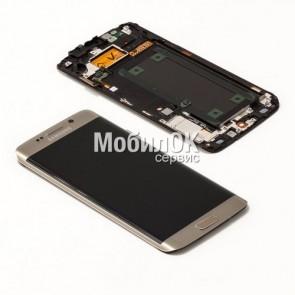 Дисплей для Samsung G925F Galaxy S6 EDGE золотой, оригинал (GH97-17162C)
